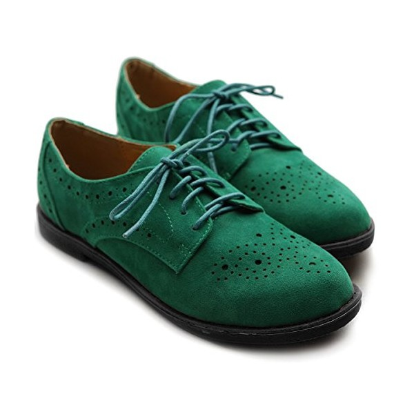Green Suede Women's Oxfords Lace up Comfortable Flats image 4