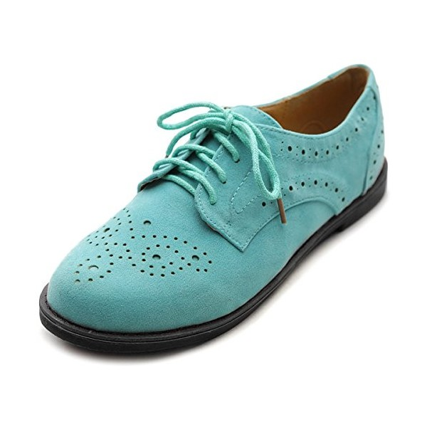 Turquoise Lace up Flats Women's Oxfords Comfortable Vintage Shoes image 1