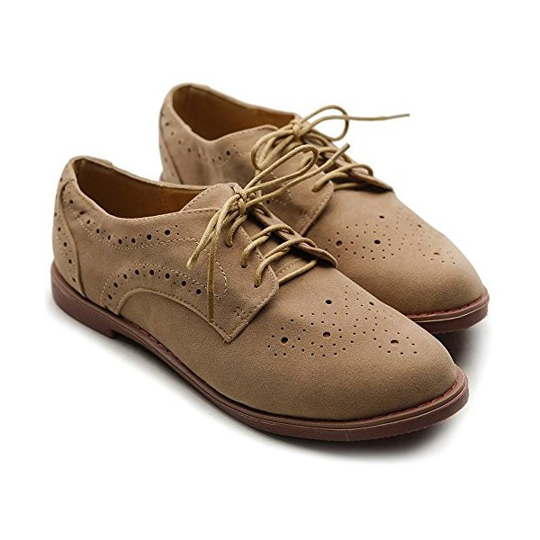 Tan Vintage Shoes Lace up Flats Comfortable Oxfords  image 3