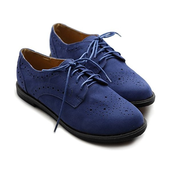 Navy Lace up Flats Women's Oxfords School Shoes image 6
