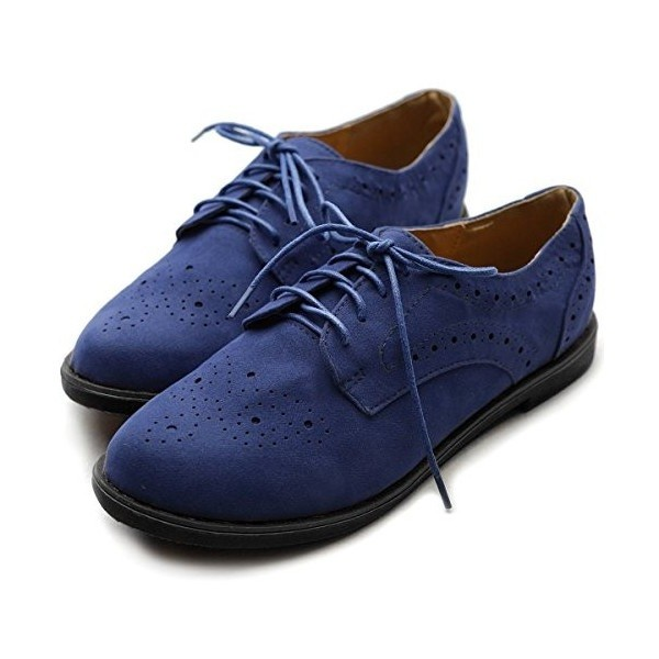 Navy Lace up Flats Women's Oxfords School Shoes image 1