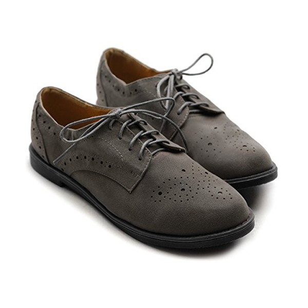 Dark Grey Vintage Shoes Women's Oxfords Lace-up Comfortable Flat image 3