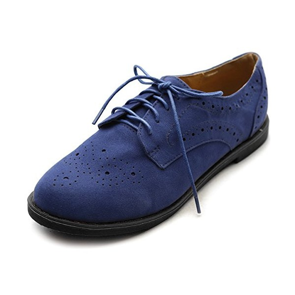 Navy Lace up Flats Women's Oxfords School Shoes image 5