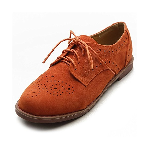 Orange Women's Oxfords Suede Comfortable Lace up Flats Vintage Shoes image 1