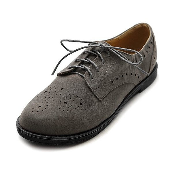 Dark Grey Vintage Shoes Women's Oxfords Lace-up Comfortable Flat image 1
