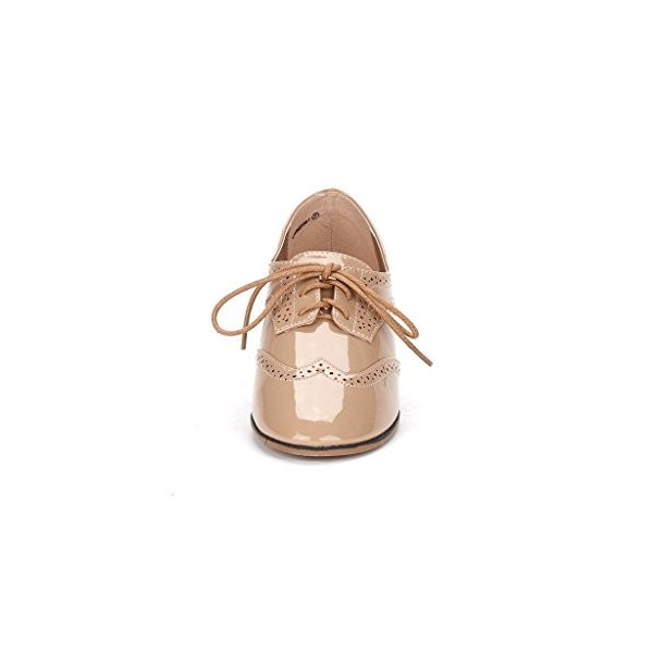 Nude Women's Oxfords Lace up Patent Leather Vintage School Shoes image 2
