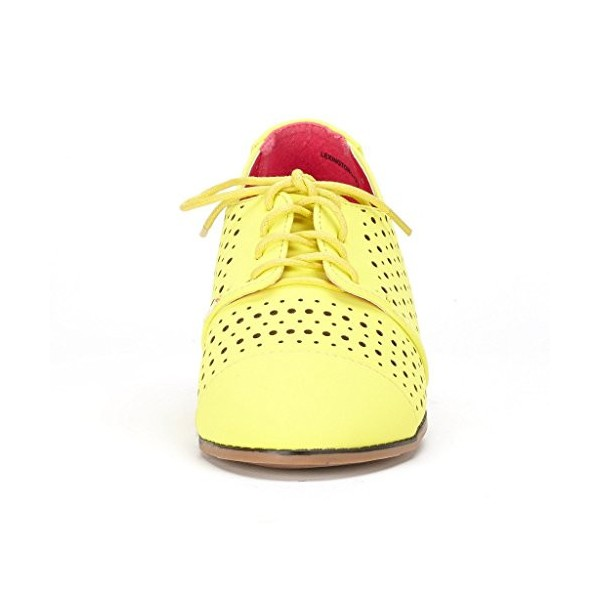 Women's Oxfords Lemon Yellow Hollow-out Lace-up Vintage Shoes image 3