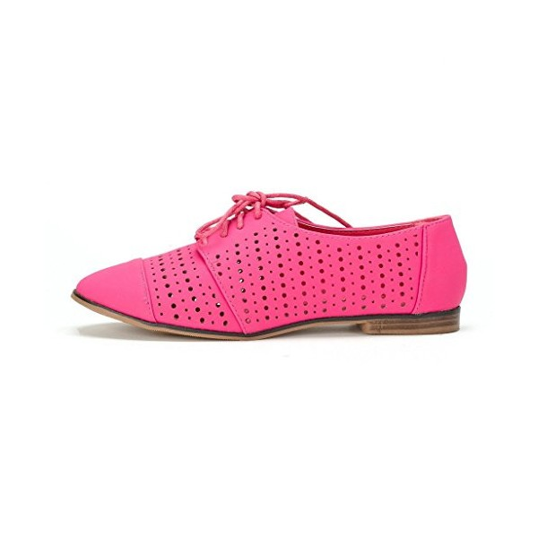 Women's Red Hollow-out Lace-up Vintage Brogues Comfortable Flats  image 3