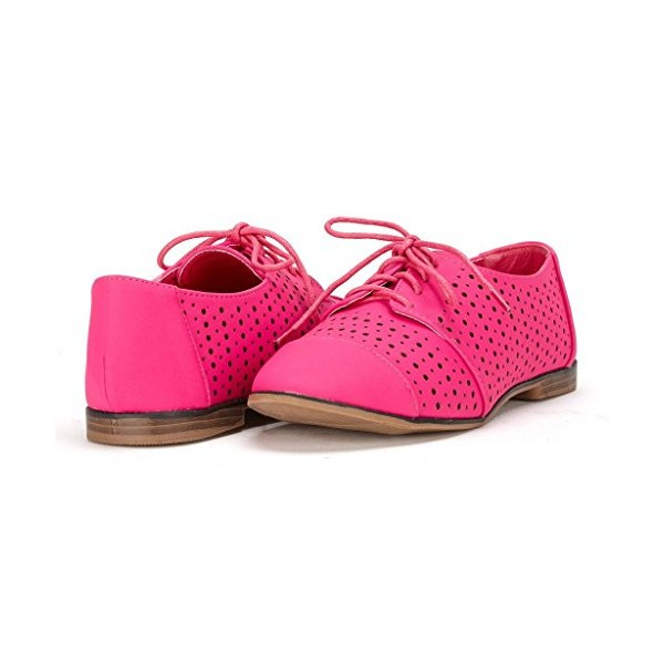 Women's Red Hollow-out Lace-up Vintage Brogues Comfortable Flats  image 1