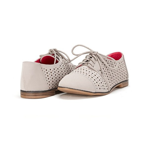 Light Grey Comfortable Shoes Vintage Oxfords Hollow out Flats image 1