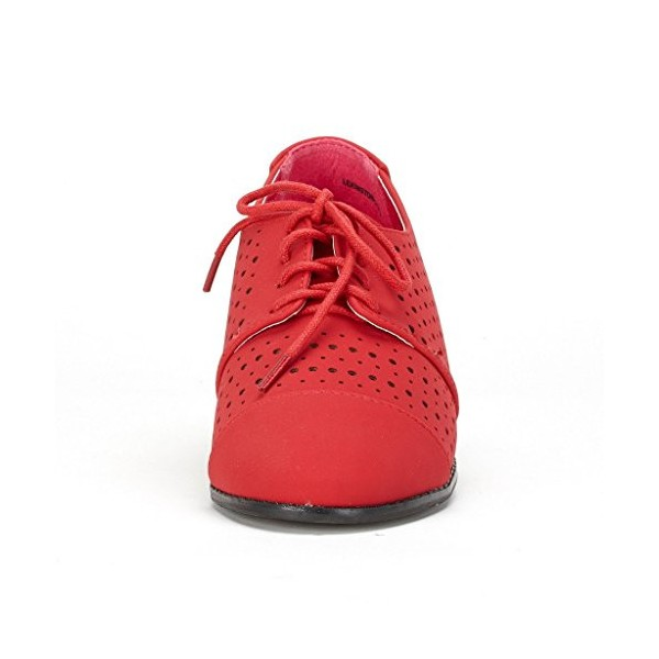 Red Women's Oxfords Hollow-out Lace up Flats Vintage Shoes image 2