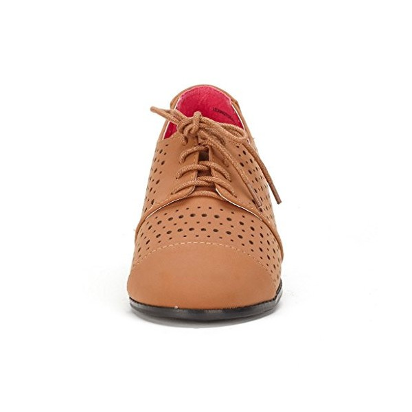 Tan Comfortable Shoes Hollow out Lace up Oxfords image 2