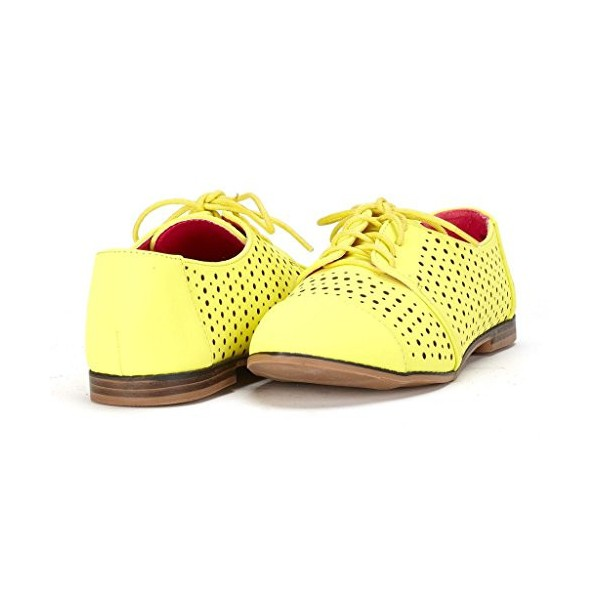 Women's Oxfords Lemon Yellow Hollow-out Lace-up Vintage Shoes image 1
