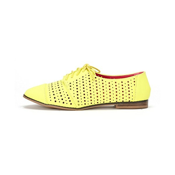 Women's Oxfords Lemon Yellow Hollow-out Lace-up Vintage Shoes image 2