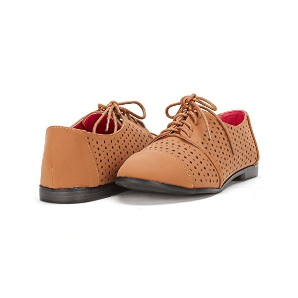 Tan Comfortable Shoes Hollow out Lace up Oxfords image 1