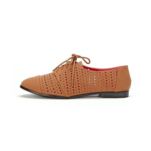 Tan Comfortable Shoes Hollow out Lace up Oxfords image 3