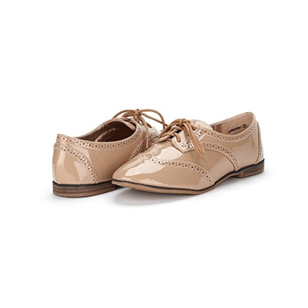 Nude Women's Oxfords Lace up Patent Leather Vintage School Shoes image 1