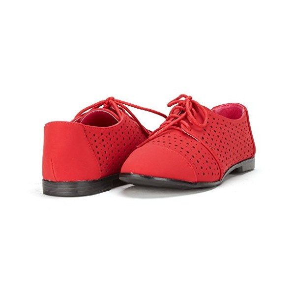 Red Women's Oxfords Hollow-out Lace up Flats Vintage Shoes image 1