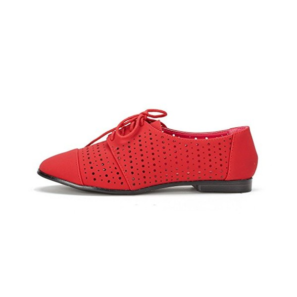 Red Women's Oxfords Hollow-out Lace up Flats Vintage Shoes image 3