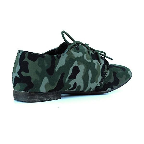 Women's Green Camouflage Oxford Comfortable Flats Shoes image 3