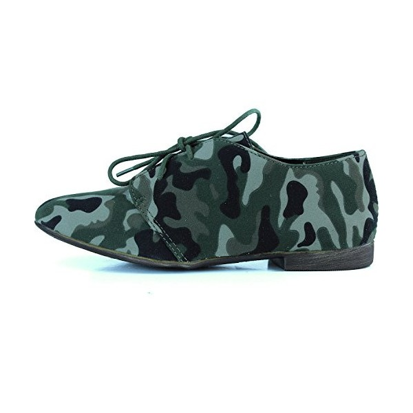 Women's Green Camouflage Oxford Comfortable Flats Shoes image 4