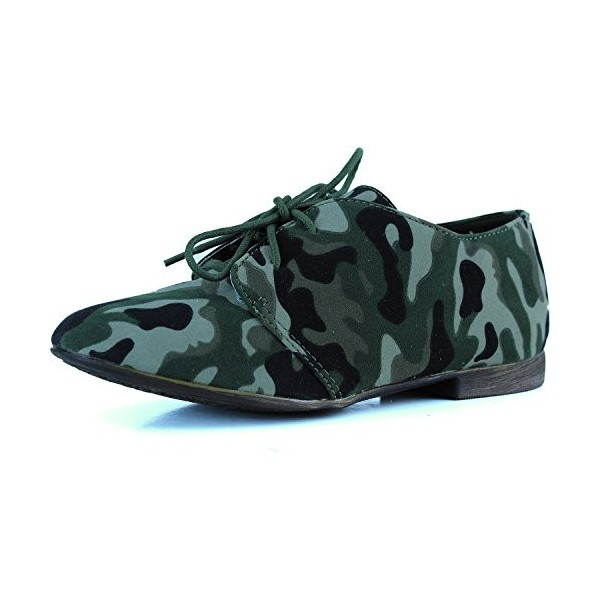 Women's Green Camouflage Oxford Comfortable Flats Shoes image 1