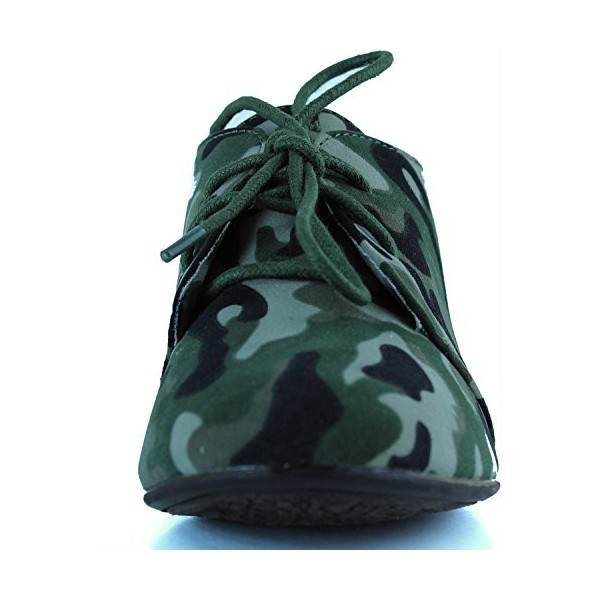 Women's Green Camouflage Oxford Comfortable Flats Shoes image 5