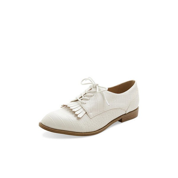 Ivory Croco Lace up Flats Fringe Women's Oxfords Vintage Shoes image 1