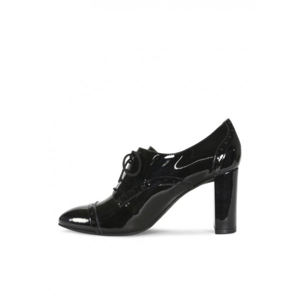 Black Women's Oxfords Lace up Patent Leather Heeled Oxfords image 3