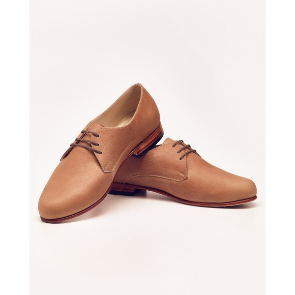 Tan Vintage Shoes Lace-up Women's Oxfords Round Toe Comfortable Shoes image 3