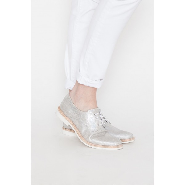 Silver Comfortable Fabric Vintage Flats Women's Brogues image 4