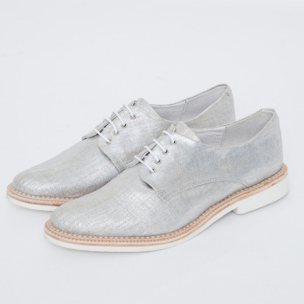 Silver Comfortable Fabric Vintage Flats Women's Brogues image 1