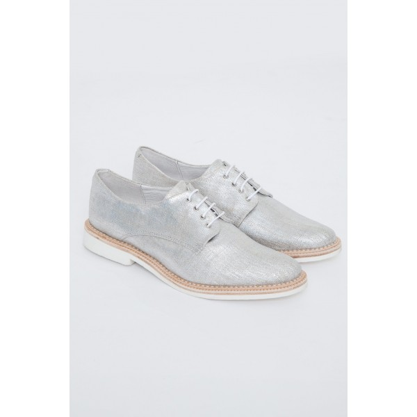 Silver Comfortable Fabric Vintage Flats Women's Brogues image 5