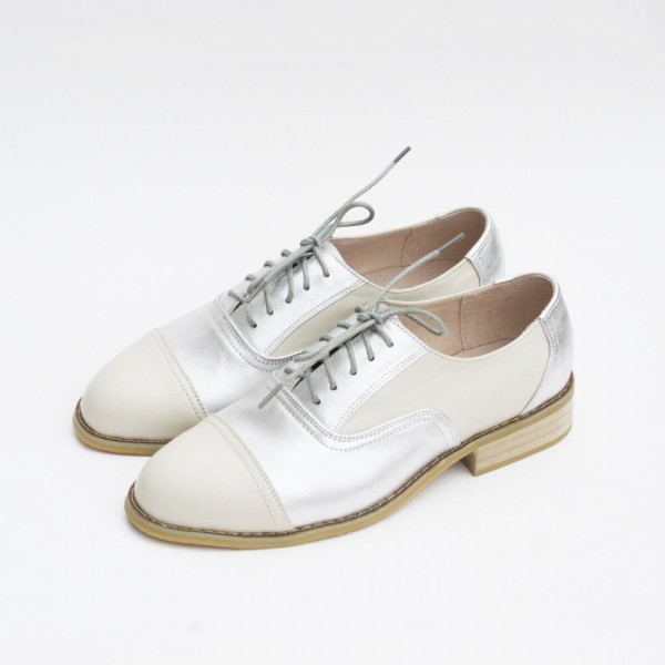 Silver Comfortable Vintage Shoes Women's Brogues image 1