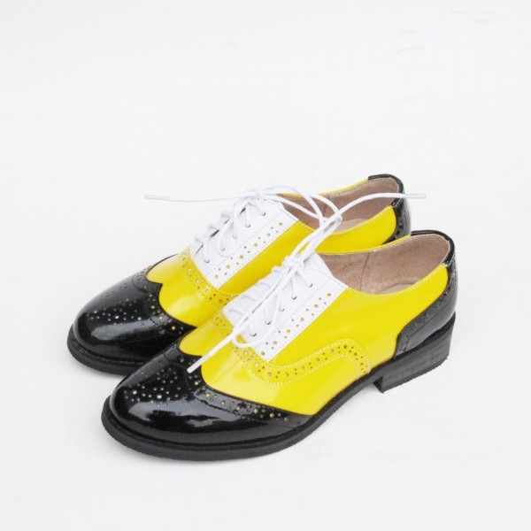 Women's Yellow Comfortable Vintage Shoes Women's Brogues image 1
