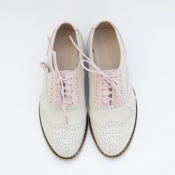 Women's Pink Comfortable Vintage Shoes Women's Brogues image 3