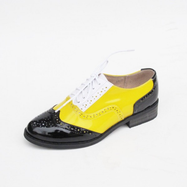 Women's Yellow Comfortable Vintage Shoes Women's Brogues image 3