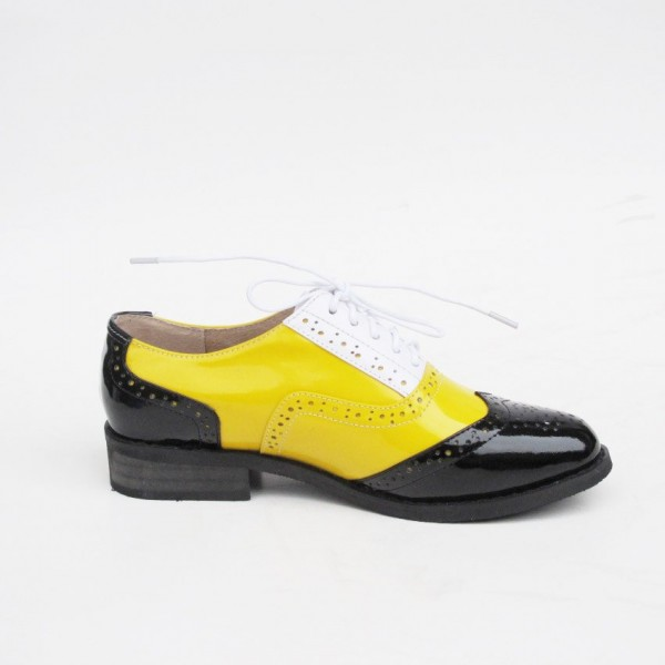 Women's Yellow Comfortable Vintage Shoes Women's Brogues image 5
