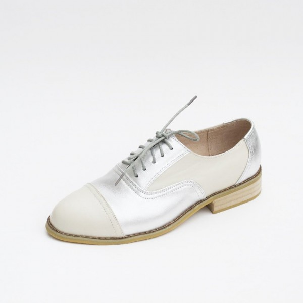 Silver Comfortable Vintage Shoes Women's Brogues image 5