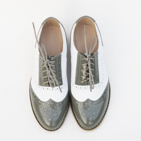 Green and White Two Tone Wingtip Shoes Lace up Patent Leather Oxfords image 5