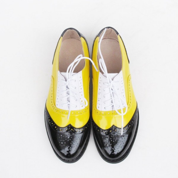 Women's Yellow Comfortable Vintage Shoes Women's Brogues image 2