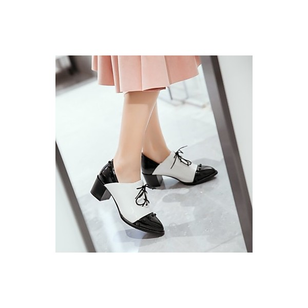Black and White Patent Leather Oxford Heels Pointy Toe Vintage Shoes image 2
