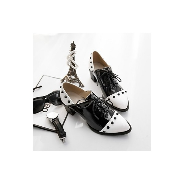 Black and White Patent Leather Vintage Shoes Women's Brogues image 2