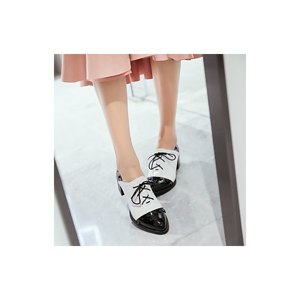 Black and White Patent Leather Oxford Heels Pointy Toe Vintage Shoes image 4