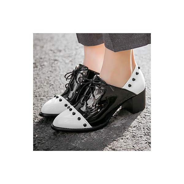 Black and White Patent Leather Vintage Shoes Women's Brogues image 1