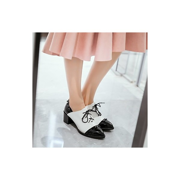Black and White Patent Leather Oxford Heels Pointy Toe Vintage Shoes image 3