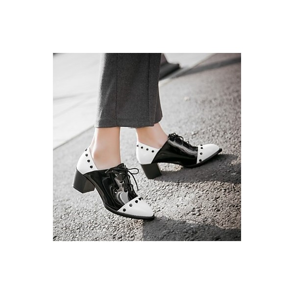 Black and White Patent Leather Vintage Shoes Women's Brogues image 5