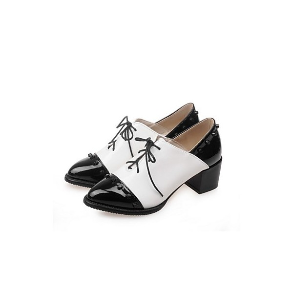 Black and White Patent Leather Oxford Heels Pointy Toe Vintage Shoes image 1