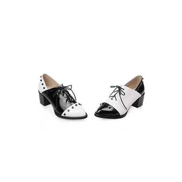 Black And White Vintage Shoes Oxfords Brogues Lace Up Chunky Heels image 5