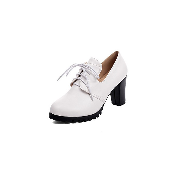 Women's White Lace-up Vintage Heels Women's Brogues Chunky Heel Boots image 1
